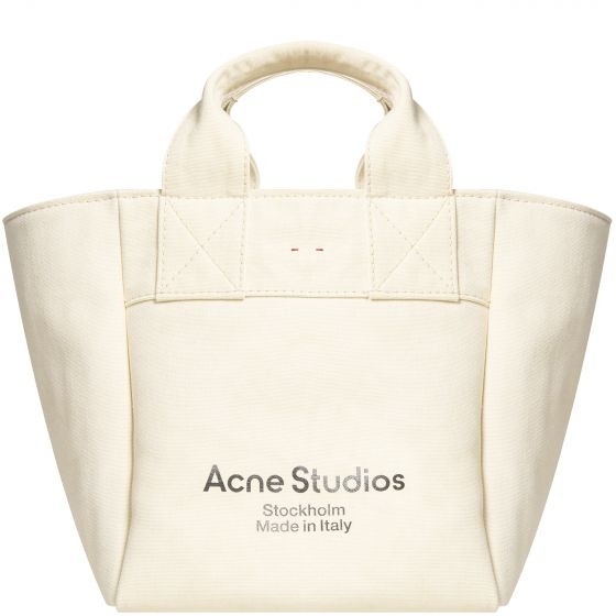 Acne Studios Logo Print Canvas Tote bag Biege