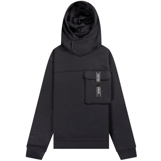 Emporio Armani Pocket Detail Hooded Sweatshirt Black