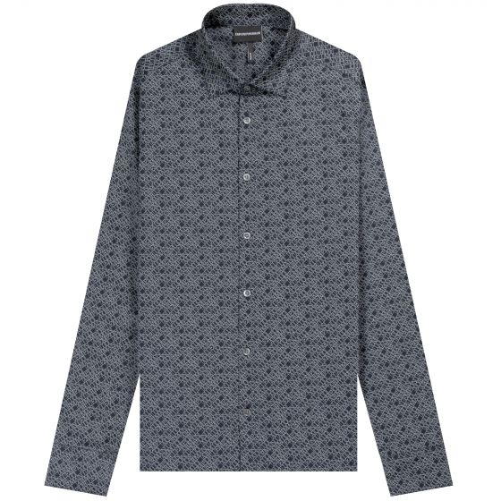 Emporio Armani 'All Over Micro Lettering' Shirt Navy/White