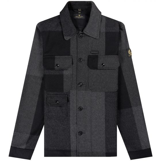 Belstaff  'Forge' Wool Patchwork Overshirt Charcoal