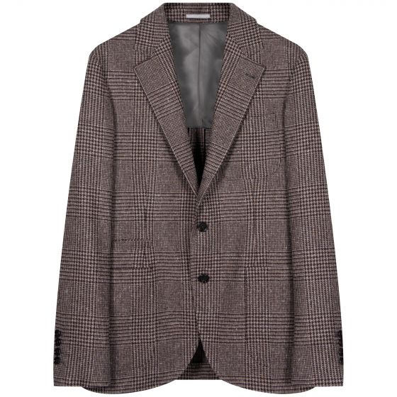 BRUNELLO CUCINELLI 'Prince Of Wales' Check Unstructured Tailored Jacket Brown