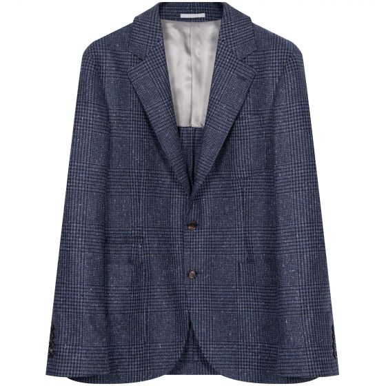 BRUNELLO CUCINELLI 'Prince Of Wales' Check Unstructured Tailored Jacket Navy