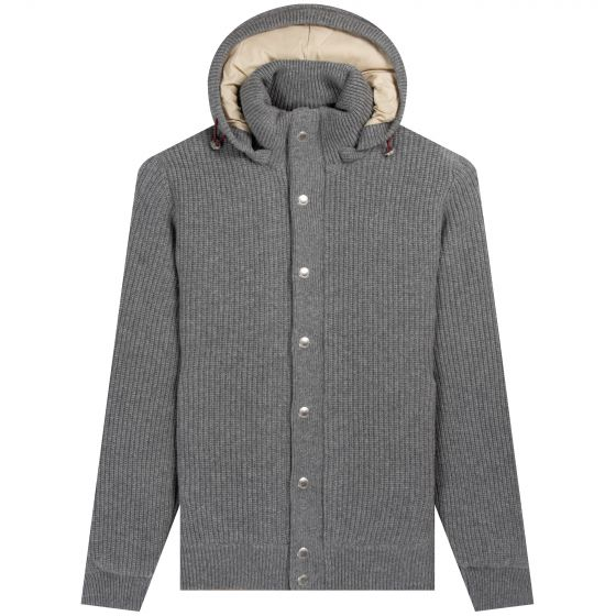 BRUNELLO CUCINELLI 'Padded Cashmere' Hooded Knitted Jacket Grey