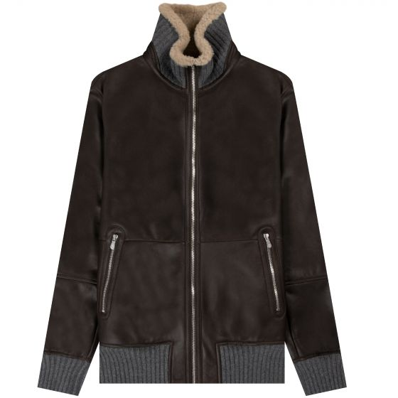 BRUNELLO CUCINELLI 'Shearling-Lined' Leather Jacket Brown