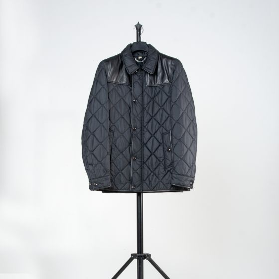 RE-POCKETS BURBERRY 'QUILTED' LEATHER SHOULDER PATCH JACKET