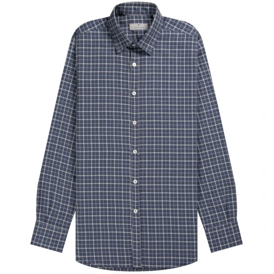 Canali Luxury Flannel Check Shirt Navy/Grey
