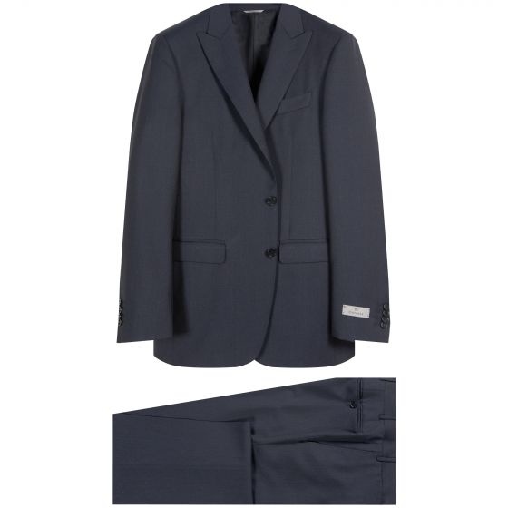 Canali Pure Wool Peaked Lapel Suit Navy