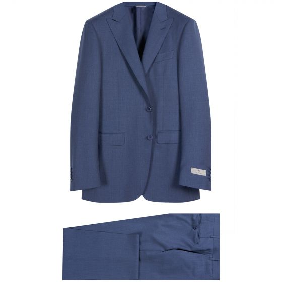 Canali Pure Wool Peaked Lapel Suit Blue