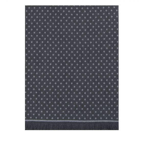 Canali Reversible Woven Spotted Wool Scarf Grey