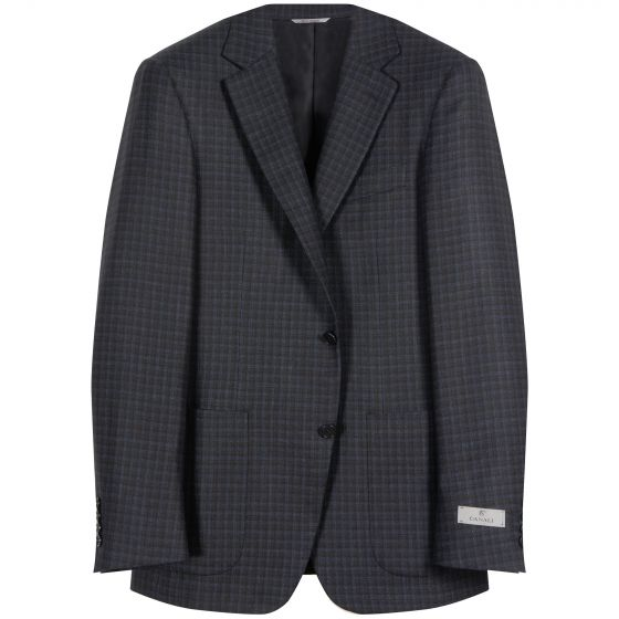 Canali Dice Check Sports Jacket Navy/Brown