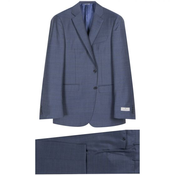 Canali Classic Light Check Wool Suit Blue