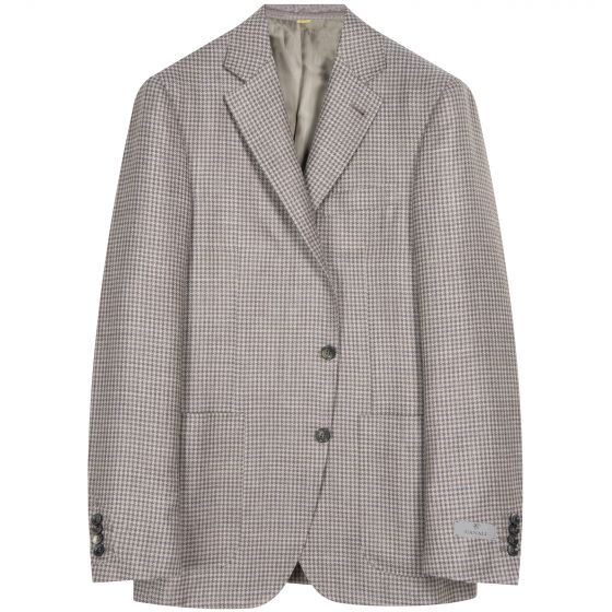 Canali Kei Puppy Tooth Check Blazer Taupe