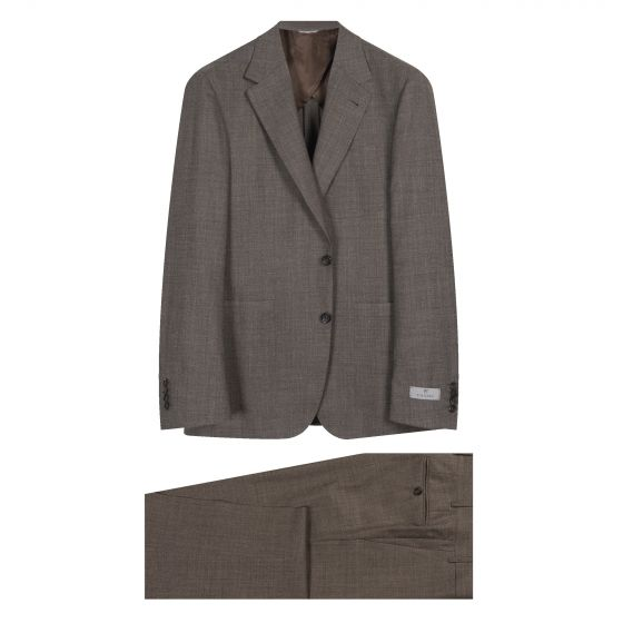 Canali Patch Pocket Casual Textured Suit Brown