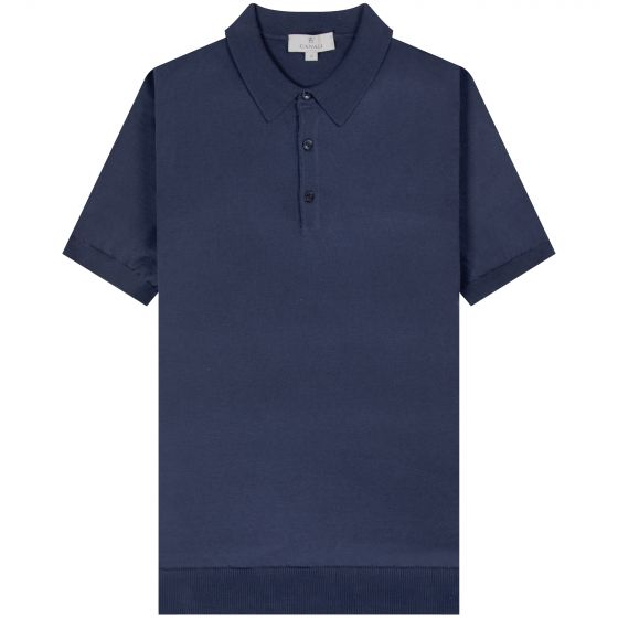 Canali 'Knitted' Cotton Polo Navy