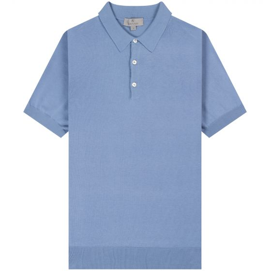 Canali 'Knitted' Cotton Polo Sky Blue