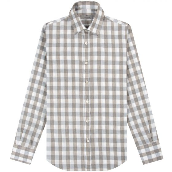 Canali 'Modern Fit' LS Linen Checked Shirt Brown