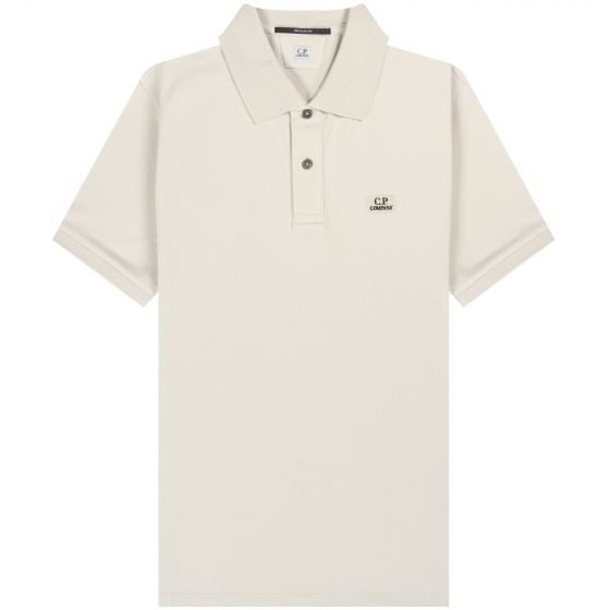 CP Company 'Tacting Pique' Garment Dyed Chest Logo Polo Sandshell