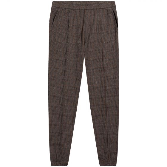Dries Van Noten Check Knitted Drawstring Track Trouser Brown
