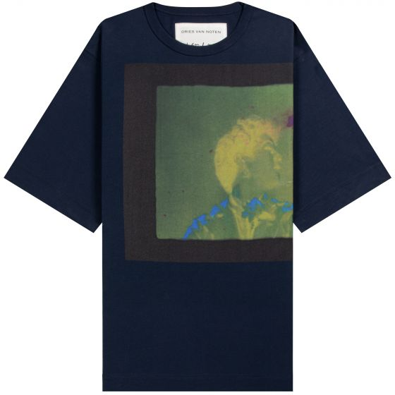 Dries Van Noten Len Lye 'Rainbow Dance' Print T-Shirt Navy