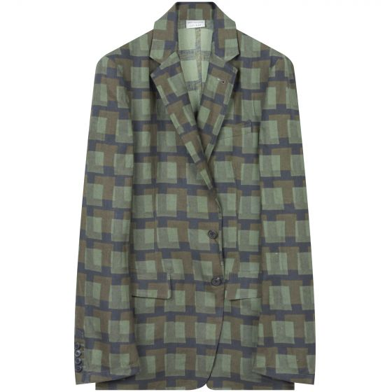 Dries Van Noten 'Boxing 2080' Len Lye Checked Linen Suit Jacket Khaki