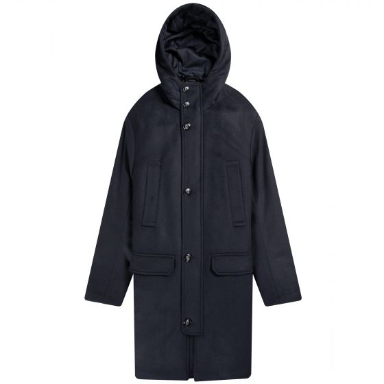 Emporio Armani Caban Hooded Cashemere Jacket Navy