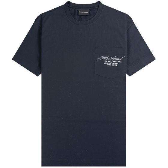 Emporio Armani 'Pocket' T-shirt With Signature Logo Embroidery And Fashion Capitals Navy