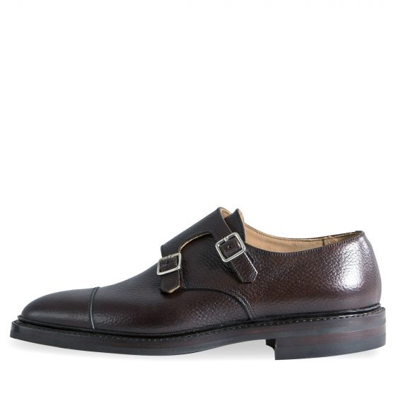 Crockett & Jones 'Harrogate' Country Calf Grain Double Monk Shoes Dark Brown