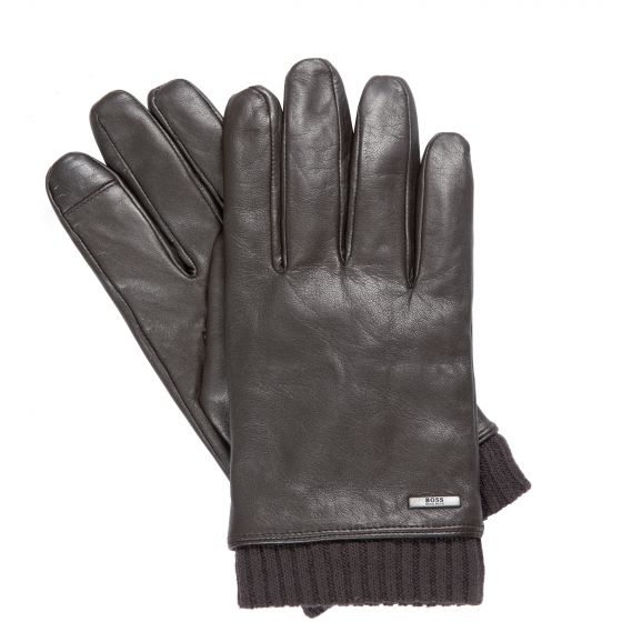 Hugo Boss Hewen-TT Leather Ribbed Cuff Gloves Brown