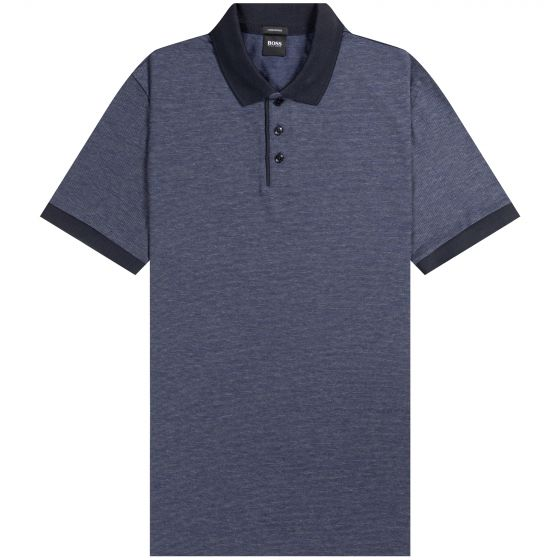 HUGO BOSS Piket Textured With Contrast Collar Polo Navy/Grey