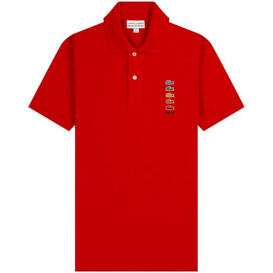 Lacoste X Polaroid Coloured Crocodiles Classic Fit Polo Shirt Red