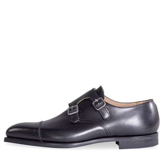 Crockett & Jones 'Lowndes' Calf Leather Double Monk Shoes With 'City' Soles Black