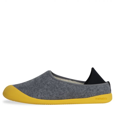 MAHABIS Curve Wool Slippers Light Grey / Yellow
