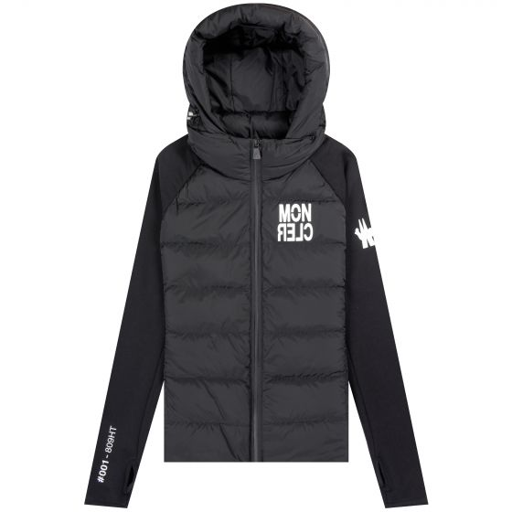 Moncler 'Full Zip' Quilted Chest Logo Jacket Black