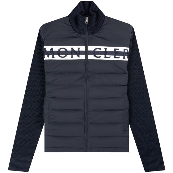 Moncler 'Full Zip' Quilted Chest Logo Cardigan Navy