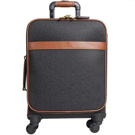 Mulberry 'Scotchgrain' Travel Luggage Black/Cognac