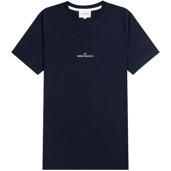 Norse Projects Niels Centre Wave Logo T-Shirt Navy