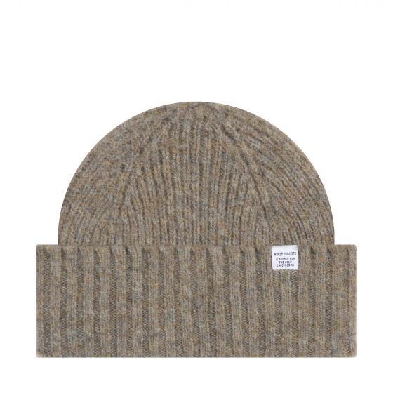 Norse Projects Brushed Lambs Wool Beanie Shale Stone