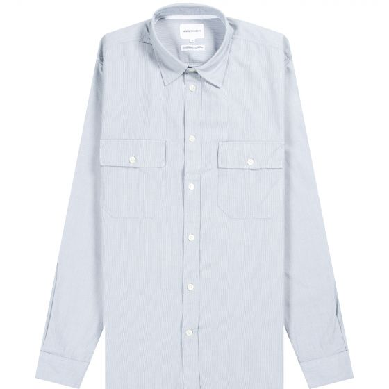 Norse Projects 'Villads' Micro Texture Stripe Shirt Blue