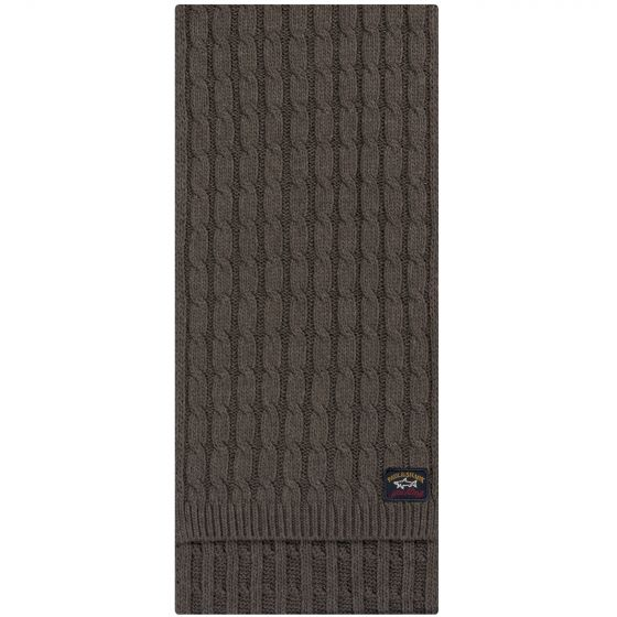 Paul & Shark Cable Knit Wool Scarf Grey Brown