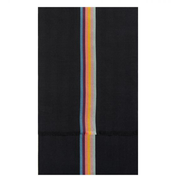 Paul Smith Artist Stripe Band Herringbone Wool-Blend Scarf Black