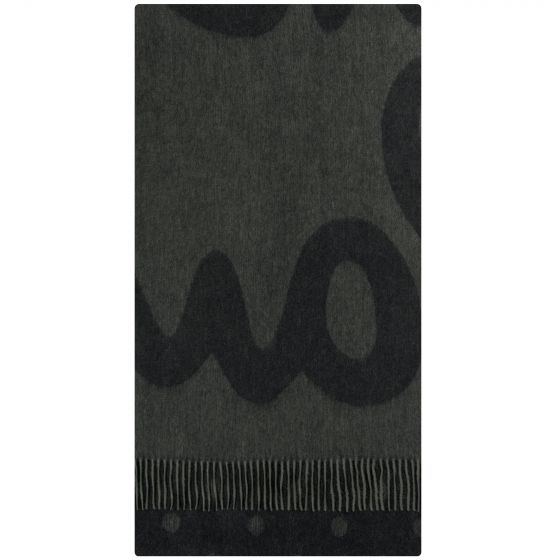 Paul Smith Pauls Large Logo Wool Cashmere Scarf Black