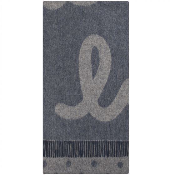 Paul Smith Pauls Large Logo Wool Cashmere Scarf Grey