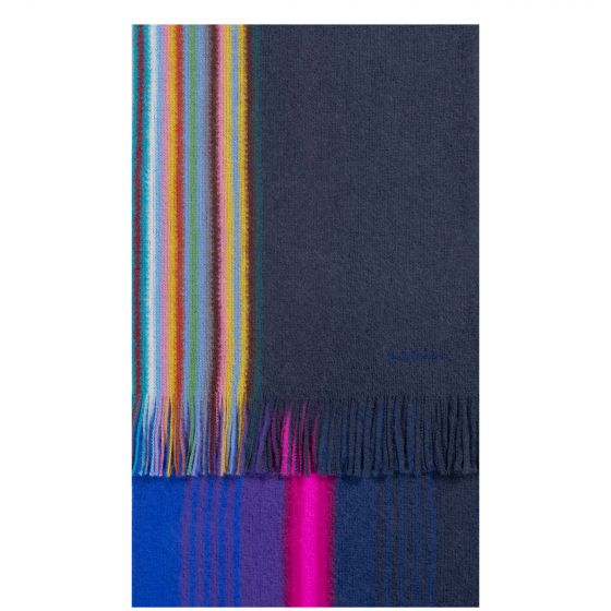 Paul Smith Reversible Multi Edge Ombre Wool Scarf Navy