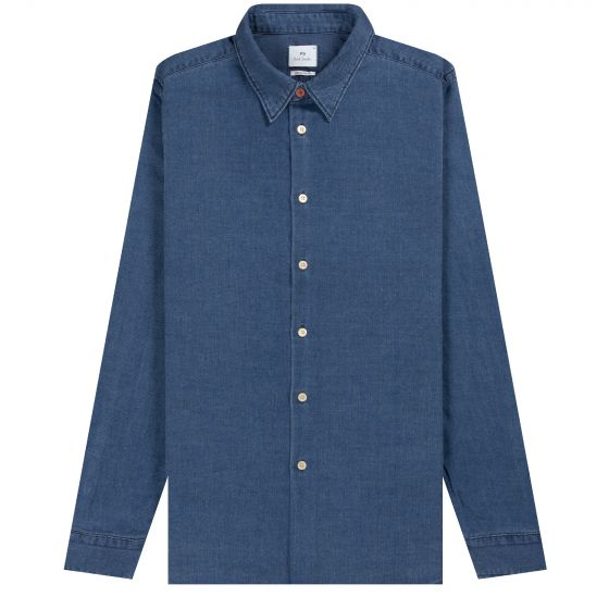 Paul Smith PS 'Regular Fit' Denim Shirt Mid Denim