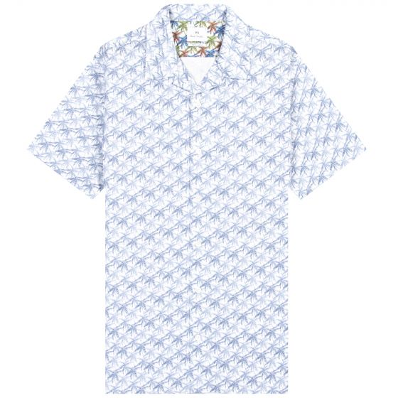 Paul Smith PS 'Palm Tree' Print SS Shirt Blue/White