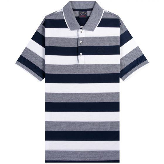 Paul & Shark Bar Stripe Polo Navy/White