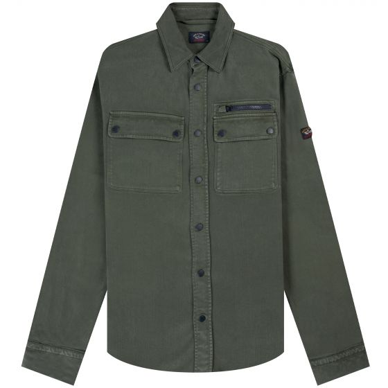 Paul & Shark 'Garment Dyed' Stretched Overshirt Military Green