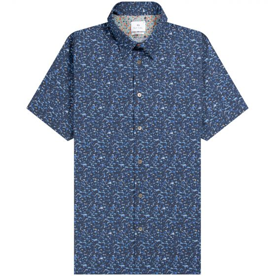 Paul Smith PS 'Strokes Pattern' Tailored Fit Shirt Blue