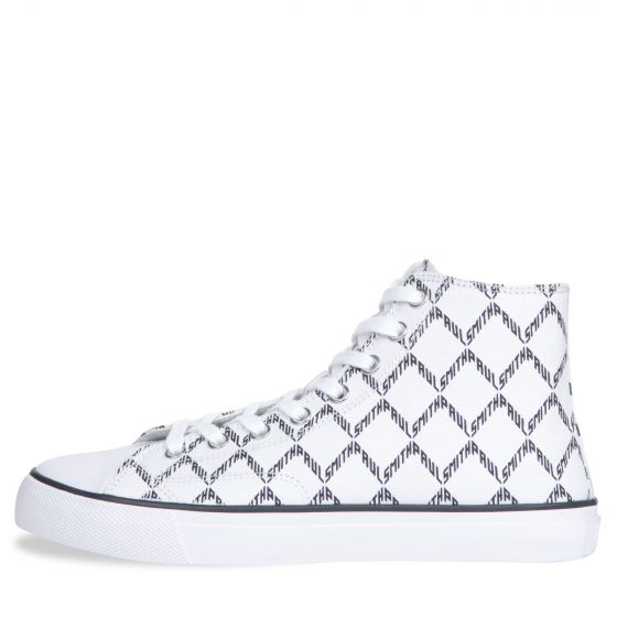 Paul Smith PS 'Carver' High Top Geo Printed Trainer White