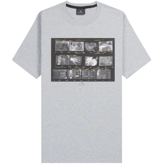 Paul Smith PS 'Film Negatives' Printed T-Shirt Grey Melange